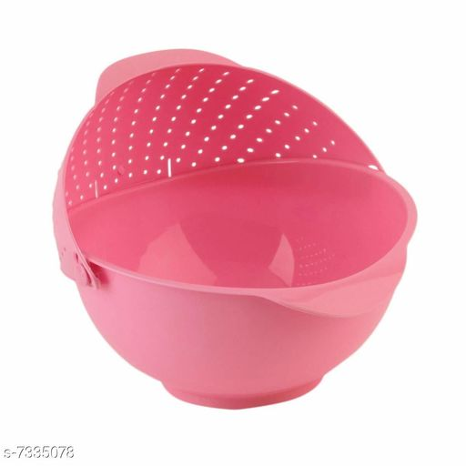 Rainbow Rice Pulses Fruits Vegetable Noodles Pasta Washing Bowl & Strainer (Color May Vary)