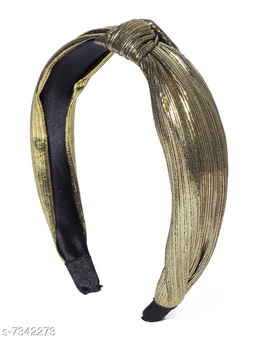 Miss J Shimmer Accessories Knot Shapped Korean Style Made up with Turban Fabric Hair Band / Head Band ,01 Piece/Flexible - Gold