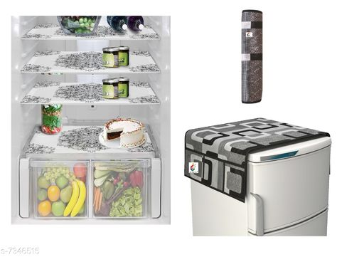 Goel HD combo of 1 fridge top, 1  handle cover and 4 fridge mats-Pack of 6 pieces