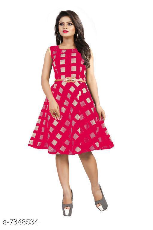 Women's Printed Pink Modal Dress