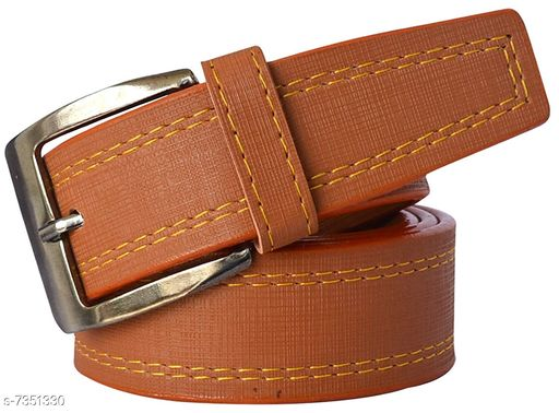 Men'S Tan Synthetic Leather Belt