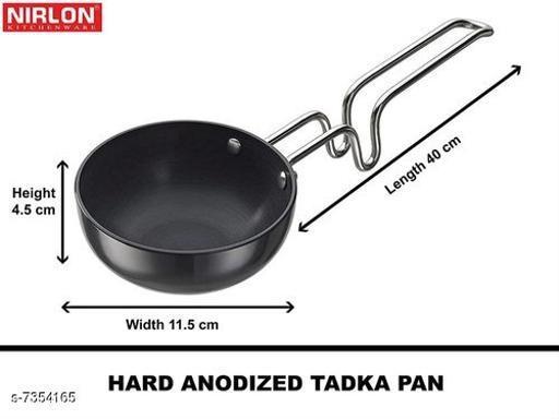 Nirlon Tadka Pan | Non Stick Tadka Pan | Unbreakable Wired Steel Handle Tadka Pan | Chowka Pan Kadai Vagariya | Aluminium Tadka Kadhai with Steel Handle.