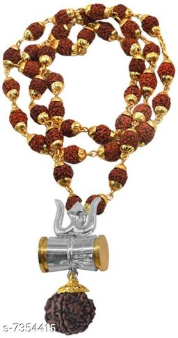 Damaru Trishul silver Rudraksh original Panchmukhi rudraksh locket Mala (8mm 36 beard ) wood chain