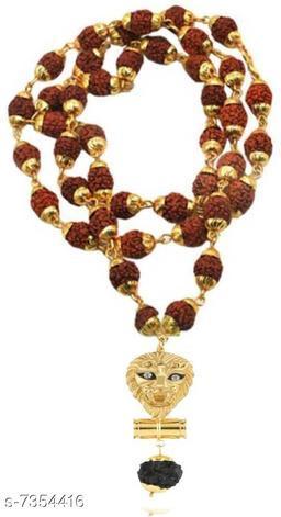 Singh damaru pendant with panchmukhi original rudraksh locket Mala (8mm 36 beard) gold plated wood chain