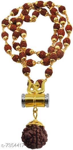 Damaru Trishul Rudraksh original Panchmukhi rudraksh locket Mala (8mm 36 beard ) wood chain