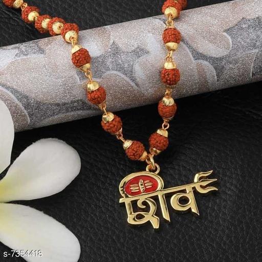 Trendy Men's Brown Gold Plated Rudraksha Chain