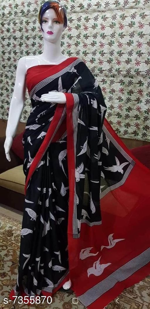 Traditional mulmul saree
