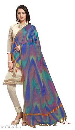Tulip Prints Women's Cotton Blue Leheriya Dupatta With Jhalar