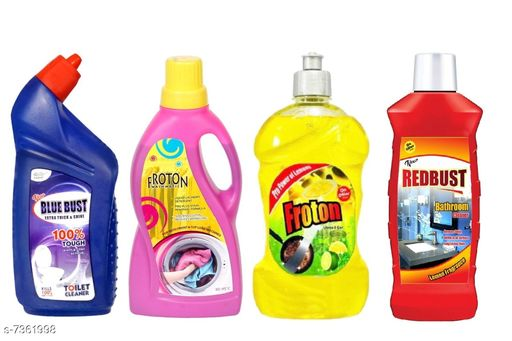 Cleaning Brushes Fancy Cleaners  *Product Name* Froton Toilet Cleaner500ml ,Dishwash liquid gel 500ml,Liquid detergent 500ml ,Bathroom cleaner 500ml  *Product Type * Toilet cleaner,Dishwash liquid,Liquid detergent,Bathroom Cleaner  *Capacity* 500 ml (Each)  *Multipack* 4  *Sizes Available* Free Size *    Catalog Name: Fancy Cleaners CatalogID_1180741 C132-SC1592 Code: 574-7361998-