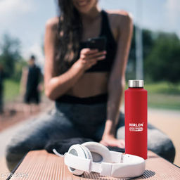Nirlon Stainless Steel Freezer Matt Red  Bottle 1000ml- Lagoon