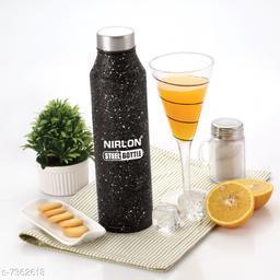 NIRLON Stainless Steel Black White Spatter Bottle 1000ml - CRYSTAL