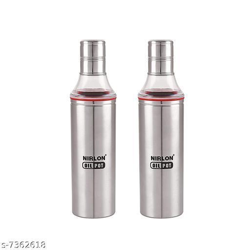 Nirlon Stailnless Steel Oil Dispenser 1000ml - Oil Pot (Pack Of 2)