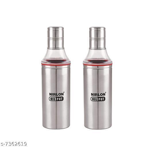 Nirlon Stailnless Steel Oil Dispenser 800ml - Oil Pot (Pack Of 2)