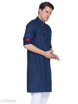Vastramay Men's Blue Cotton Kurta