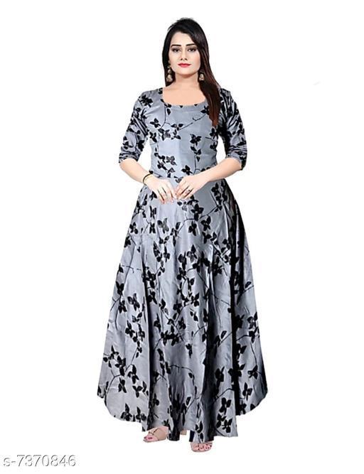 Women's Printed Grey Rayon Dress