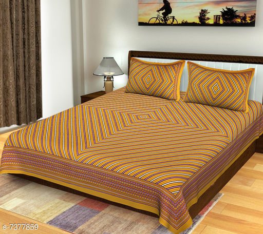 100% Cotton, queen size double bedsheet with 2 pillow cover