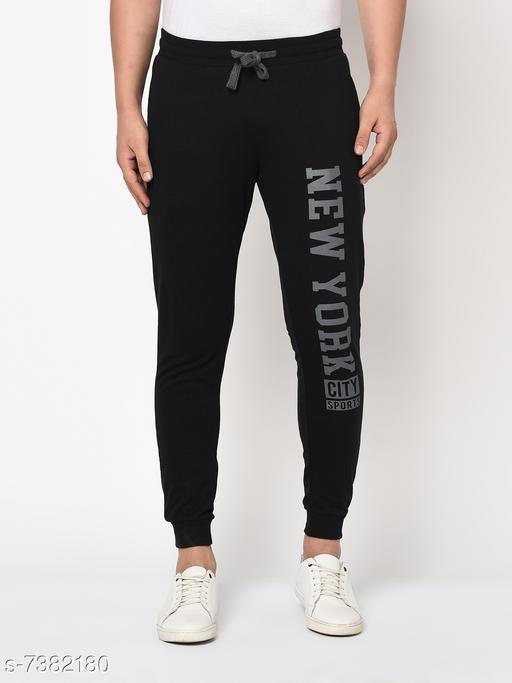 Austin Wood Men's Black Printed Slim Fit Track Pants
