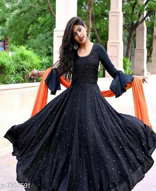 Women's Black Muslin Gown
