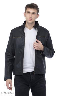 Elegant Men's Stylish Solid Jacket