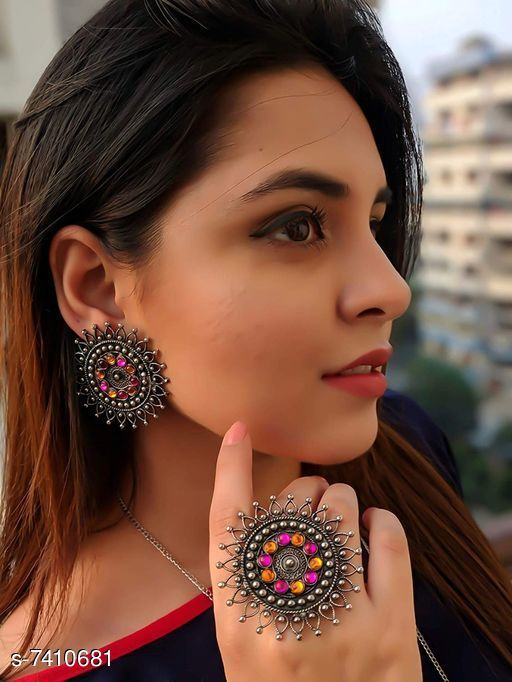 Beautiful Oxidized Earrings with Ring