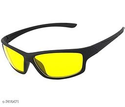 Arzonai UV Protection Men's and Women's Wrap Around Cricketers Night Drive Sports Sunglasses (Black-Yellow) Free Size