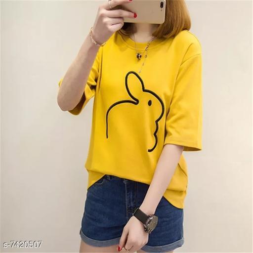 Women's Printed Yellow Cotton Top