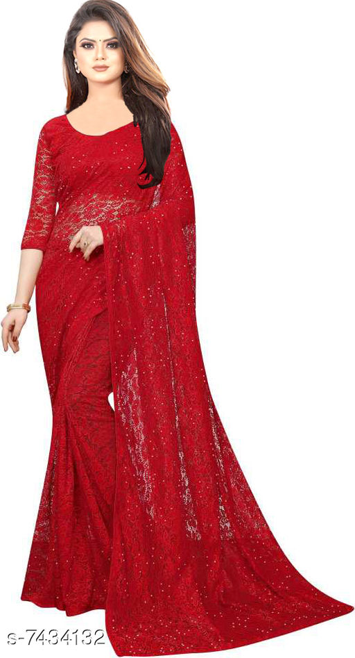 Trendy Net Saree For Women's With Blouse Piece