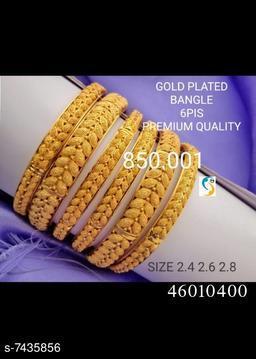 GOLD PLATED SET OF 6PC LEAF BANGLE.