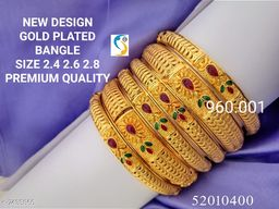 NEW DESIGN GOLD PLATED RUBY STONE SET OF 6PC BANGLE.