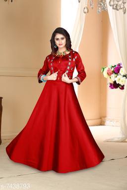 Women Satin Anarkali Gown