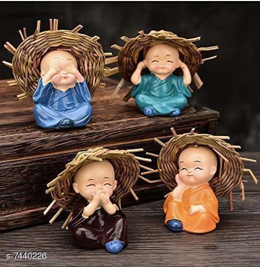 BLACK HORSE  Set of 4 Baby Hat Monk Buddha Idols Showpiece - Car Dashboard-Home Décor