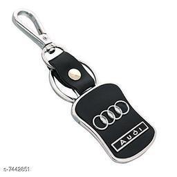 Advikavya Audi Logo Leather Metal Hook Locking Keychain for Car Bike Men Women Keyring (Black/Silver)