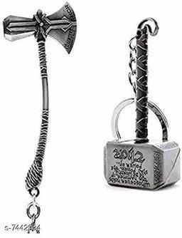 Advikavya Thor's Stormbreaker & Hammer Silver Keychain (Set of 2)