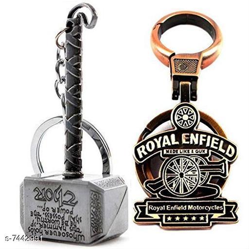 Advikavya Marvel Avenger Thor Hammer Royal Enfield Copper Key Chains & Key Rings (Pack of 2)