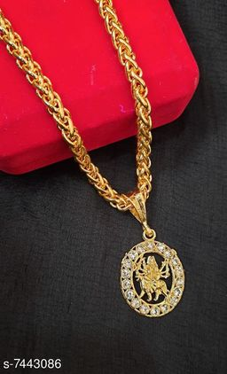 Round Gold Platedambey maa Pendant with link Pattern Chain