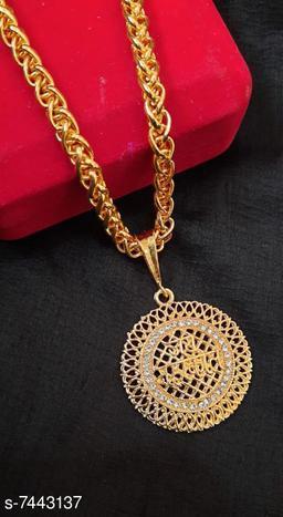 Shiv Rudra Trishul Shivlinga Rudraksha Pendant with link pattern chain