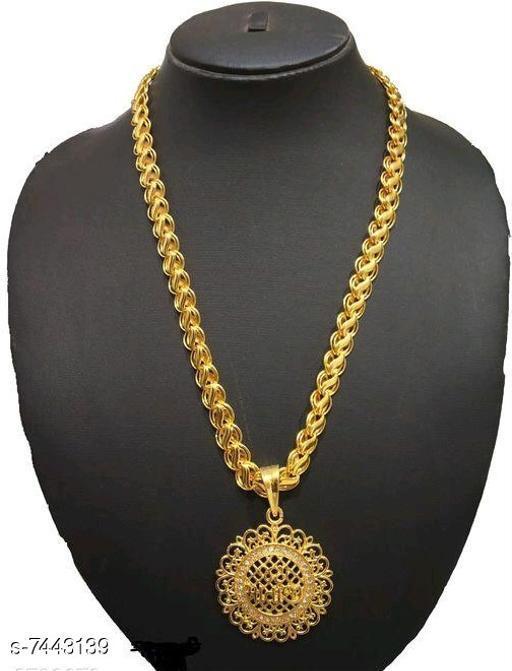 Men's Golden Lion Head Pendant with link pattern chain