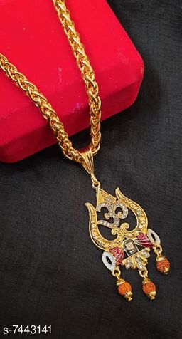 Round Gold Plated maataji Pendant with Leaf Pattern Chain