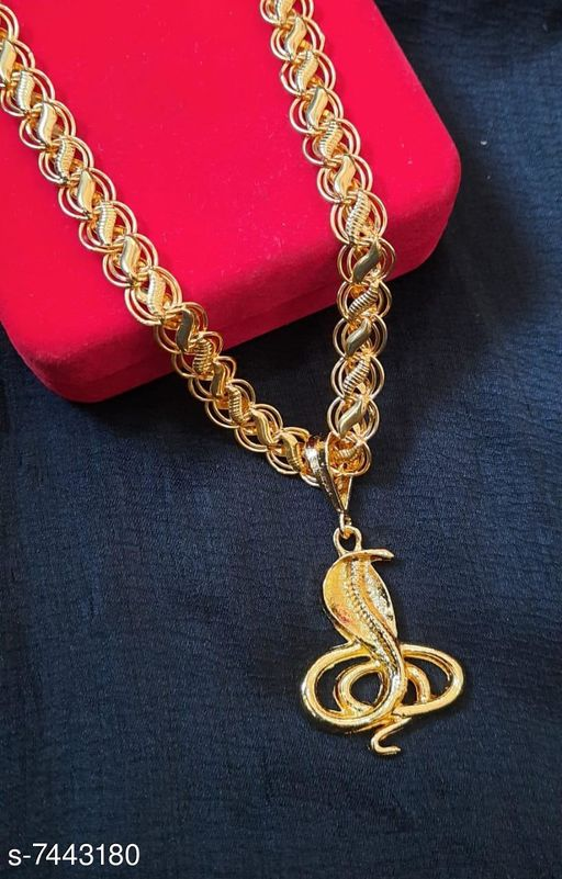 Round Gold Plated shreeganesh Pendant with Leaf Pattern Chain