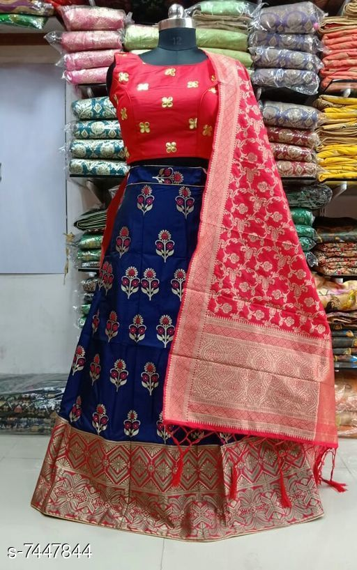 Lehengas Beautiful  Banarasi brocade Lehenga Choli  *Topwear Fabric* Banarasi Brocade  *Bottomwear Fabric* Banarasi Brocade  *Dupatta Fabric* Banarasi Brocade  *Set type* Choli And Dupatta  *Top Print or Pattern Type* Brocade  *Bottom Print or Pattern Type* Brocade  *Dupatta Print or Pattern Type* Brocade  *Sizes*   *Semi Stitched (Lehenga Waist Size* Up To 38 in To 40 in, Lehenga Length Size  *Sizes Available* Semi Stitched *    Catalog Name: Banita Fashionable Women Lehenga CatalogID_1197593 C74-SC1005 Code: 7491-7447844-