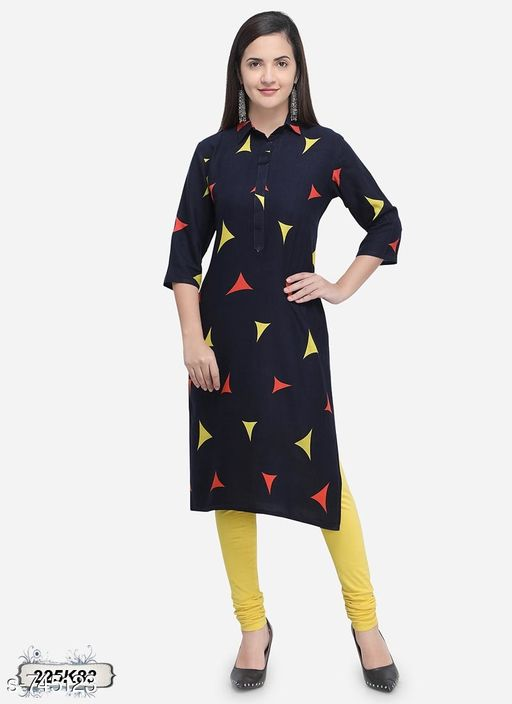 Kurtis & Kurtas Stylish Women's Rayon Kurti  *Fabric* Rayon  *Sleeves* 3/4 Sleeves Are Included  *Size* M - 38 in , L - 40 in , XL - 42 in  *Length* 46 to 48 in  *Type* Stitched  *Description* It Has 1 Piece Of Kurti  *Pattern* Printed  *Sizes Available* S, M, L, XL *    Catalog Name:  Attractive Designer Rayon Long Kurtis CatalogID_84556 C74-SC1001 Code: 783-745123-