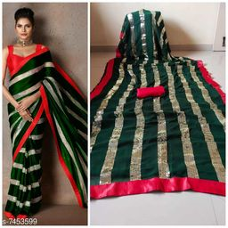 GEORGETTE SAREE WITH SATIN SILK BANGLORI BLOUSE WITH BEAUTIFUL SEQUENCE WORK