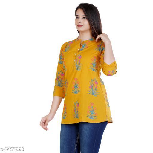 Women Cotton Short Kurti Printed Yellow Kurti