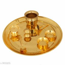 The Craft Corner Gold Plated Brass Handmade Pooja Thali with Box for Home Decor Set of 8