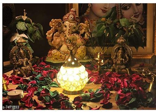 ROYAL Crystal Akhand Diya Decorative Brass Oil Lamp Tea Light Holder Lantern Oval Shape Pooja Decoration Gifts ( color Gold pack of 1 Size oval small cm 8.5x8.5x13)