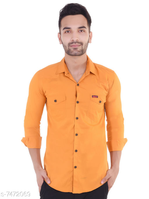 V4You Men Solid Casual Slim Shirt