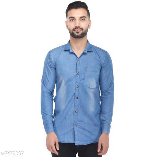 V4You Men Solid Denim Slim Shirt