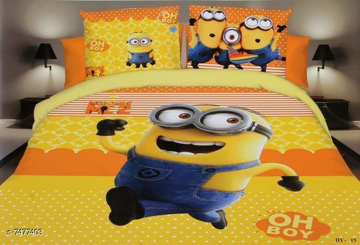 Kids Collection Printed  Poly-Cotton double Bed sheet with two pillow covers