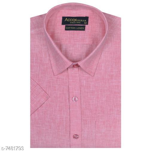 ACCOX Men's Cotton Linen Half Sleeves Formal Regular Fit Shirt