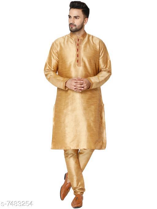 SKAVIJ Men's Art Silk Kurta Pajama Set Traditional Dress